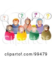 Royalty Free RF Clipart Illustration Of A Group Of People With Questions by Prawny