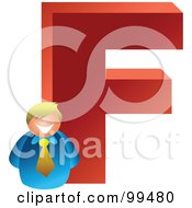 Royalty Free RF Clipart Illustration Of A Businessman With A Large Letter F