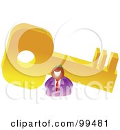 Royalty Free RF Clipart Illustration Of A Businessman With A Giant Key by Prawny