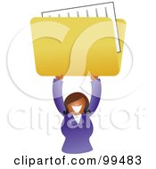 Royalty Free RF Clipart Illustration Of A Businesswoman Holding Up A Folder by Prawny
