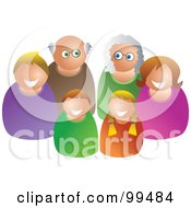 Royalty Free RF Clipart Illustration Of A Happy White Family Of Three Generations