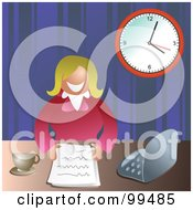 Royalty Free RF Clipart Illustration Of A Businesswoman With Paperwork At Her Desk by Prawny