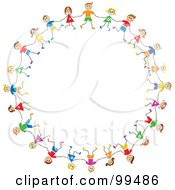Royalty Free RF Clipart Illustration Of A Circle Of Caucasian Stick Children