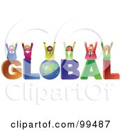Royalty Free RF Clipart Illustration Of A Business Team Celebrating On Global