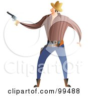 Royalty Free RF Clipart Illustration Of A Male Gunslinger Holding A Pistol