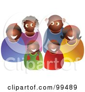 Royalty Free RF Clipart Illustration Of A Happy Black Family Of Three Generations