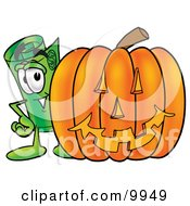 Clipart Picture Of A Rolled Money Mascot Cartoon Character With A Carved Halloween Pumpkin