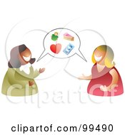 Royalty Free RF Clipart Illustration Of A Two Women Having A Conversation With A Balloon by Prawny
