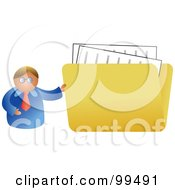 Royalty Free RF Clipart Illustration Of A Businessman Holding A Large Folder by Prawny