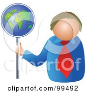 Royalty Free RF Clipart Illustration Of A Business Man Holding A Globe Sign