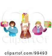 Royalty Free RF Clipart Illustration Of A Business Team Holding Gifts