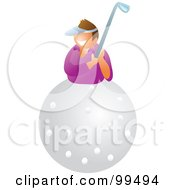 Royalty Free RF Clipart Illustration Of A Happy Woman On A Golf Ball by Prawny