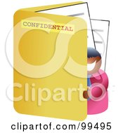 Royalty Free RF Clipart Illustration Of A Businessman Standing In A Large Folder by Prawny