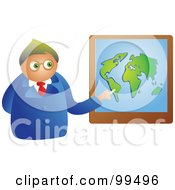 Royalty Free RF Clipart Illustration Of A Businessman Pointing To A Map by Prawny