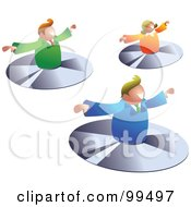 Business Team Flying On CDs