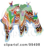 Royalty Free RF Clipart Illustration Of A Business Team On A World Map by Prawny