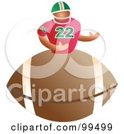 Royalty Free RF Clipart Illustration Of A Man On An American Football by Prawny