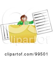 Royalty Free RF Clipart Illustration Of A Businessman In A Large Folder