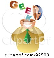 Royalty Free RF Clipart Illustration Of A Businessman With A Geek Brain