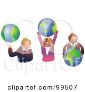 Royalty Free RF Clipart Illustration Of A Business Team Holding World Globes