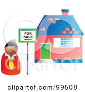 Royalty Free RF Clipart Illustration Of A Realtor By A Sold House