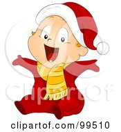 Royalty Free RF Clipart Illustration Of A Baby Boy In A Santa Suit Holding His Arms Open by BNP Design Studio