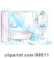 Royalty Free RF Clipart Illustration Of An Artistic Scene Of A Residential Bathroom With A Tub And Sink