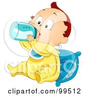 Royalty Free RF Clipart Illustration Of A Baby Boy Sitting Against A Pillow And Drinking Milk From A Bottle by BNP Design Studio