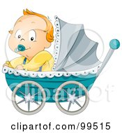 Baby Boy Sitting In A Blue Pram by BNP Design Studio