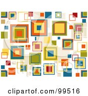 Royalty Free RF Clipart Illustration Of A Seamless Colorful Retro Squares On White Pattern Design Background