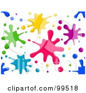 Seamless Colorful Paint Splatters On White Pattern Design Background