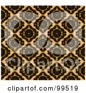 Royalty Free RF Clipart Illustration Of A Seamless Black And Tan Damask Pattern Design Background