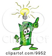 Clipart Picture Of A Rolled Money Mascot Cartoon Character With A Bright Idea
