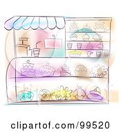 Royalty Free RF Clipart Illustration Of An Artistic Scene Of A Bakery With Sweets In The Display