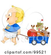 Royalty Free RF Clipart Illustration Of A Baby Boy Pulling His Toys In A Wagon by BNP Design Studio