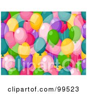 Royalty Free RF Clipart Illustration Of A Seamless Colorful Party Balloon Pattern Design Background