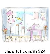 Royalty Free RF Clipart Illustration Of An Artistic Scene Of A Fashion Designer Shop