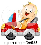 Royalty Free RF Clipart Illustration Of A Baby Boy Driving A Car And Wearing A Seat Belt