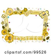 Royalty Free RF Clipart Illustration Of A White Frame Bordered In Sunflowers And Bees by BNP Design Studio