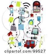 Royalty Free RF Clipart Illustration Of A Digital Collage Of Business Technology Items by BNP Design Studio