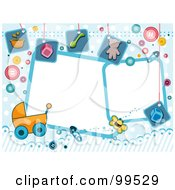 Royalty Free RF Clipart Illustration Of White Frames Bordered With Baby Items On Blue