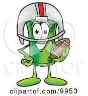 Clipart Picture Of A Rolled Money Mascot Cartoon Character In A Helmet Holding A Football by Toons4Biz