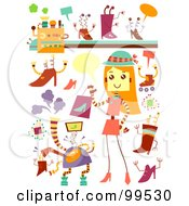 Royalty Free RF Clipart Illustration Of A Digital Collage Of Robotic Fashion Items