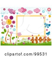 Royalty Free RF Clipart Illustration Of A Frame Of Birds Clouds Buttons A Fence And Flowers by BNP Design Studio