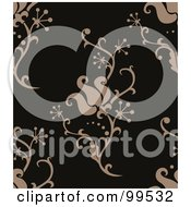 Royalty Free RF Clipart Illustration Of A Seamless Taupe And Black Damask Pattern Design Background