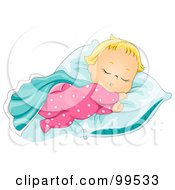 Royalty Free RF Clipart Illustration Of A Cute Baby Girl Sleeping With Her Blanket And Pillow