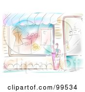 Royalty Free RF Clipart Illustration Of An Artistic Scene Of A Boutique Facade With Clothes In The Window by BNP Design Studio