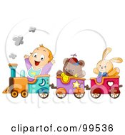 Baby Boy Riding A Train With Stuffed Animals by BNP Design Studio