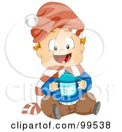 Royalty Free RF Clipart Illustration Of A Baby Boy Sitting And Holding A Sippy Cup by BNP Design Studio