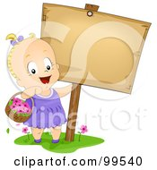Royalty Free RF Clipart Illustration Of A Cute Baby Girl Carrying A Basket Of Flowers By A Blank Sign